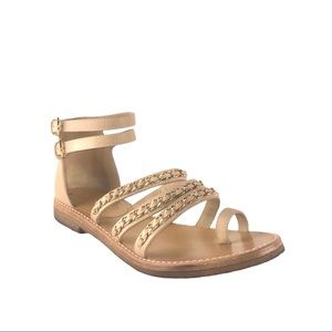 CHANEL Chain-Link Accent Thong Gladiator Sandals